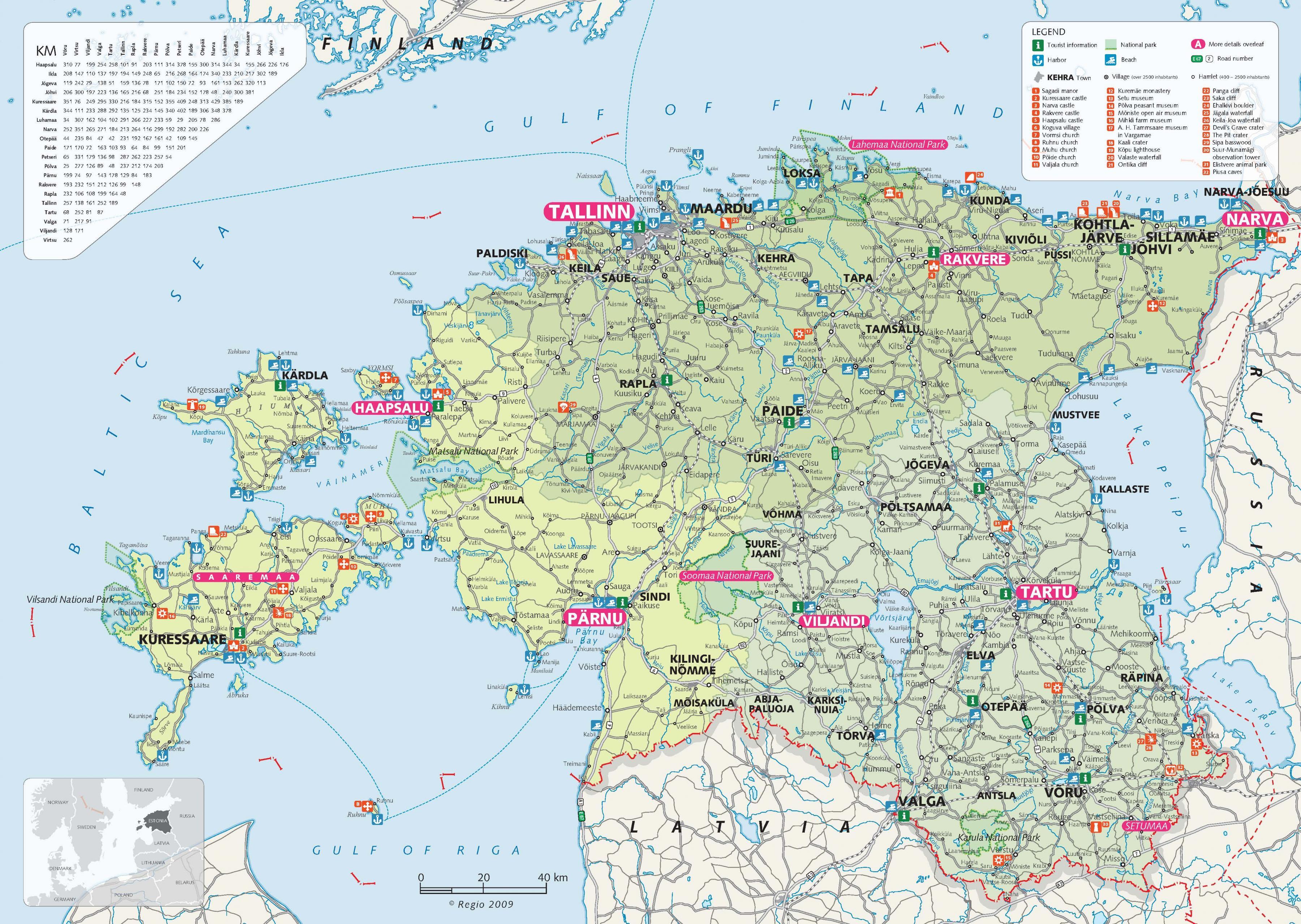 Karte Anzeigen.Estland Tourist Map Touristische Landkarte Estland Europa